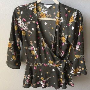 Beautiful 3/4 length wrap top/blouse